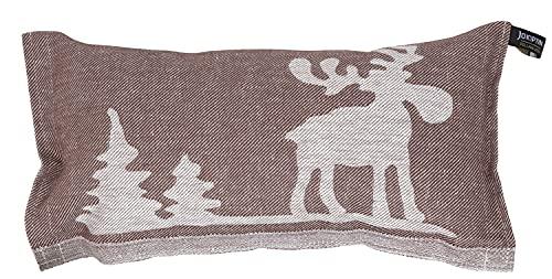 Jokipiin | 1 Saunakissen Lieblingskissen Reisekissen | Design: Elch | Maße: 40 x 22 cm, Leinen/Baumwolle | hergestellt in Finnland (braun/weiß)