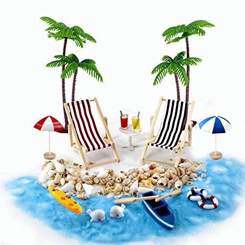 Gallop Chic Strand-Mikrolandschaft Miniliegestuhl Strandkorb Sonnenschirm Kleine Palme Deko Accessoires, 16 Stück Miniatur-Ornament-Set für DIY, Zen Garten Dekoration,...