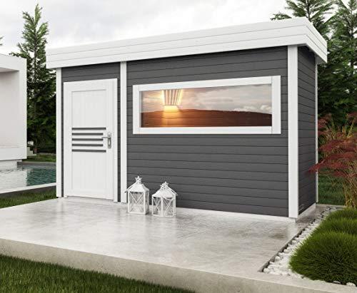 Saunahaus Lut 40 mm mit großem Panoramafenster, Farbe: Anthrazit/Weiß - Außenmaße (B x T): 354 x 204 cm