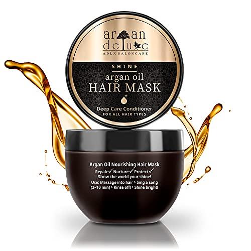 Argan Deluxe Haarmaske in Friseur-Qualität 250 ml - Haarkur mit Arganöl zur intensiven Pflege - für Geschmeidigkeit & Glanz - Effektive Haarpflege für trockenes,...