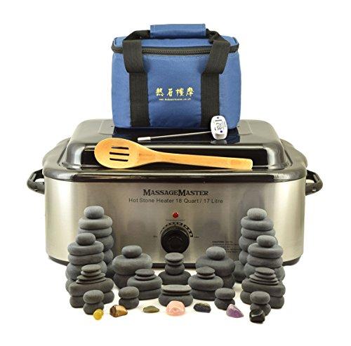 MassageMaster HOT STONE MASSAGE KIT: 70 Basalt & Chakra Steine + Wärmegerät 17 Liter