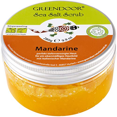 Greendoor Körperpeeling Meersalz Mandarine 280g natürliches Peeling ohne Mikroplastik, Duschpeeling ohne Konservierung, mit BIO Jojobaöl, Naturkosmetik Body Scrub, Natur...