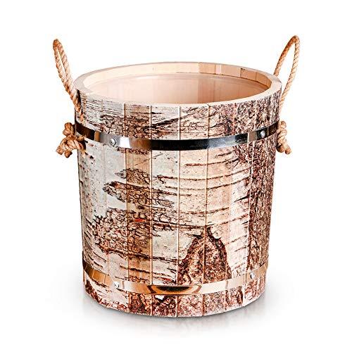 ZARENHOFF Saunakübel aus Linden-Holz mit Birkenrinde Muster und Seilgriff, Banja Sauna-Zubehör, Aufgusseimer mit Kunststoffeinsatz 13 L