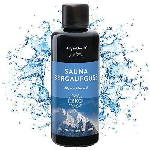 AllgäuQuelle Saunaaufguss mit 100% BIO-Öle Atemwohl Eukalyptus Minze Salbei Cajeput (100ml). Natürlicher Sauna-aufguss m. ätherische Sauna-Öle im Aufguss-Mittel. Saunaöl...