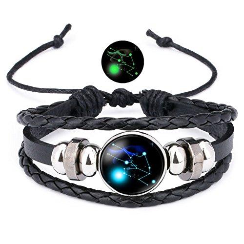 12 Sternzeichen Armband Lederarmband Frauen Herren Nachtleuchtender Anhänger Glas Cabochon Silber Armbänder Kette Verstellbare (Stier)