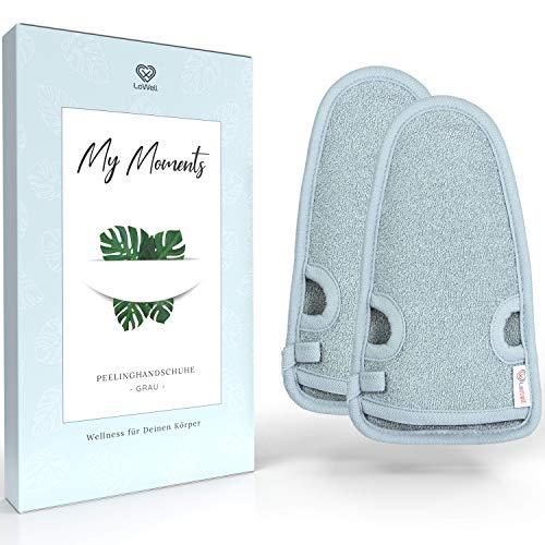 2 Stück - LoWell® - Peelinghandschuh rau inkl. Peeling-Guide + 2 x BONUS Saugnapf - Entspannung für deinen Körper - Wellness Handschuh - Dusch Schwamm Body - Hamam...