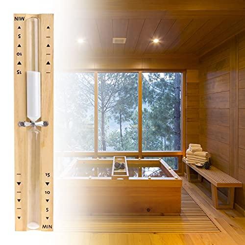 HENGBIRD Sauna Sanduhr Saunauhr Zubehör aus Holz 15 Minuten hitzebeständig Wandmontage umweltfreundlich Saunauhr aus Pappel (weißem)