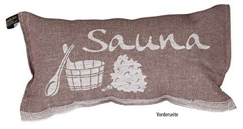 JOKIPIIN | 1 Saunakissen und Reisekissen SAUNA, 40 x 22 cm, Leinen/Baumwolle, made in Finland (braun/weiß)
