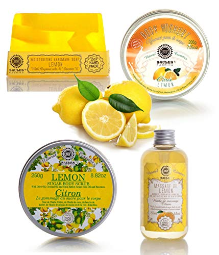 Saules Fabrika 4er Geschenk-Set handmade Körperpeeling Massage-Öl Bodylotion Seife 4teilig (Zitrone)
