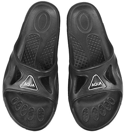 Aqua Speed Schwarze Badelatschen Vento + Mikrofaser Handtuch   Herren   Duschsandalen   Badeschlappen   Shower Schuhe   leichte Saunasandalen für Männer Erwachsene   Sliders...