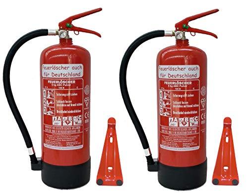2X 6 kg ABC Pulver Feuerlöscher NEU Orginalverpackt Brandklasse ABC, EN3, Manometer, Messingarmatur + Sicherheitsventil (Mit Kunststoffstandfuß mit Wandhalter Ohne...
