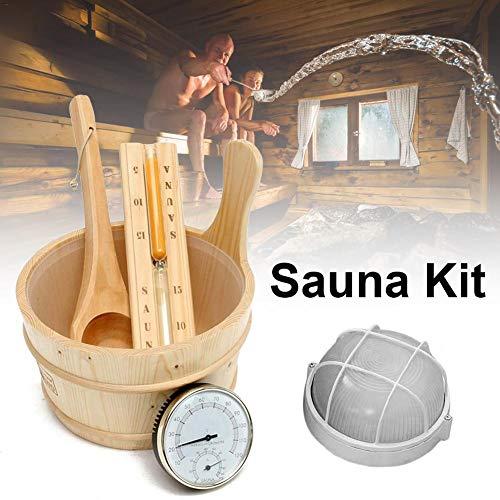 Bestlle Saunazubehör Set Holz Saunaeimer mit Schöpflöffel Sauna Sanduhr Sanduhr Saunathermometer Sauna Explosionsfest Lampe Saunalöffel 5PCS Sauna Dampfraum Zubehör