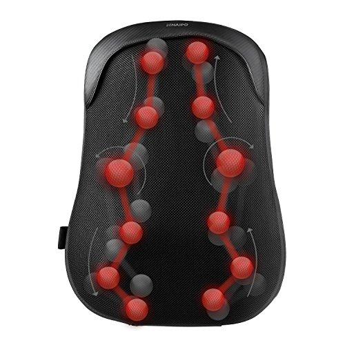 Naipo Massagegerät Rückenmassagegerät Massagekissen mit Wärmefunktion S-Design Thai-Massage zwölf Massageköpfe Akupressur Shiatsu für Haus Büro Auto