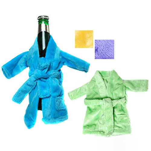 1 Stück Mini-Flaschen-Bademantel, Plüsch, Polyester, ca. 14 x 21 cm, versch. Farben, LOLLIPOP®