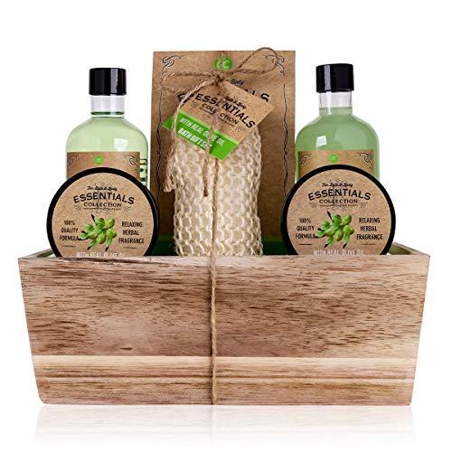 Accentra Geschenkset OLIVE im Holzkorb Bade-, SPA und Dusch Set Olive Duft – 6-teiliges Geschenk set in dekorativem Korb aus Holz, bestes Geschenk für Geburtstag,...