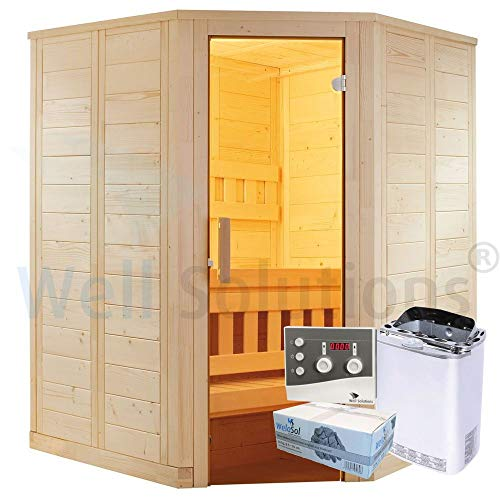 Well Solutions Saunakabine Wellfun Mini inklusive Bi-o Sauna-Technik mit Saunaofen und Steuerung