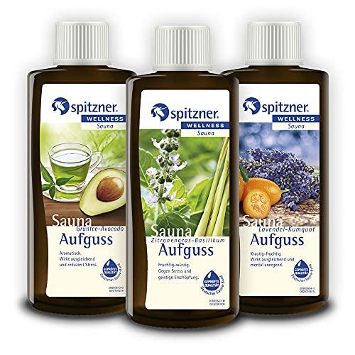 Spitzner Saunaaufguss Stresskiller: Grüntee-Avocado, Zitronengras-Basilikum, Lavendel-Kumquat und Rose (4x190ml)