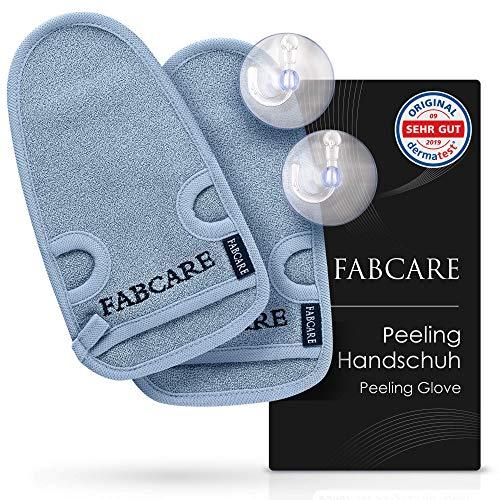 FABCARE Peelinghandschuh - DERMATEST SEHR GUT - 2 Stück - Reinigt Porentief für Körper & Gesicht - Duschschwamm für Peeling & Body Scrub - BONUS 2 Saugnäpfe & Ebook -...
