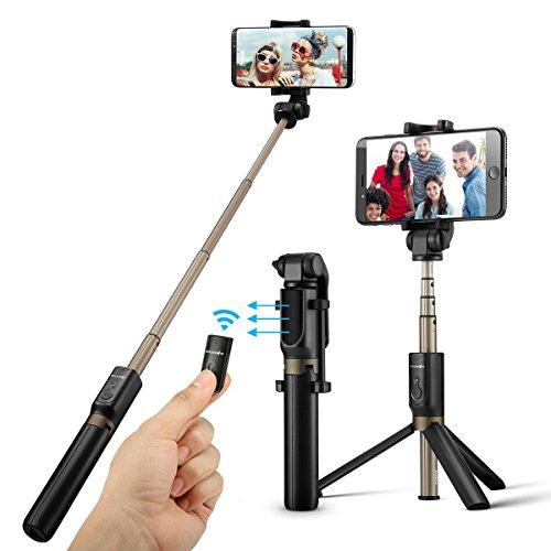 BlitzWolf Bluetooth Selfie Stick Stativ, 3 in 1 Erweiterbar Monopod Wireless Selfie-Stange Stab 360°Rotation, 3,5-6 Zoll Smartphones(Schwarz), Load Capacity: 1.5 kg