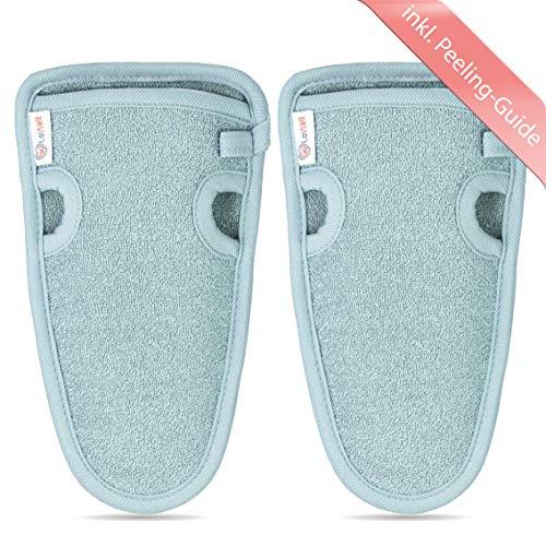 2 Stück - LoWell - Peelinghandschuh rau inkl. Peeling-Guide + 2 x BONUS Saugnapf - LUXUS für deinen Körper...