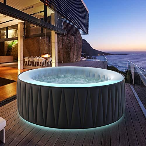 Miweba MSpa aufblasbarer Whirlpool Aurora D-AU06 Outdoor - inkl. LED RGB - für 6 Personen - 138 Düsen - 204 x 70 cm - Tüv GS geprüft - 930 Liter - Pool aufblasbar (Delight...