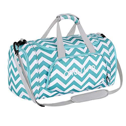 MOSISO Sport Gym Tasche Reisetasche mit Vielen Fächern, Wasserdicht Sporttasche Seesack für Tanzen, Fitness, Sport und Reise mit Schuh Abteil, Chevron Heiß Blau