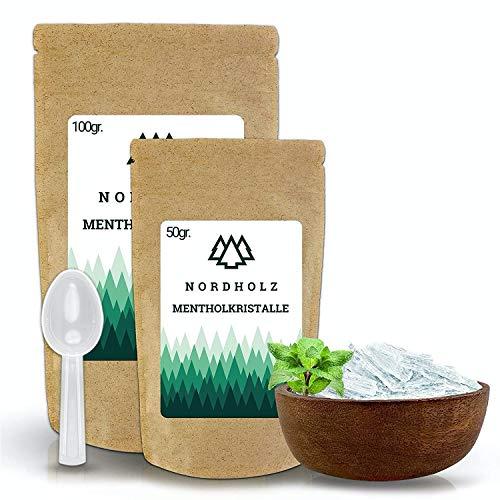 NORDHOLZ® Mentholkristalle [50gr] für Sauna in Premium Qualität aus 100% Minzöl - Befreit die Atemwege und sorgt für natürlich intensiven Duft in der Sauna - Menthol...