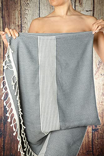 Happy Towels Hamamtücher   Grau und Weiß   210 cm x 95 cm...
