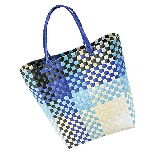 LaFiore24 Grosse original Shopper Einkaufstasche Einkaufskorb Bade-Strandtasche abwaschbar 42x16 H.40/60cm blau-Multi