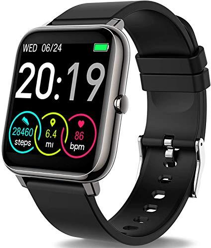 Smartwatch, Rinsmola Fitnessuhr 1.4 Zoll Voll Touchscreen Fitness Tracker mit Pulsmesser und Schlafanalyse, Musiksteuerung, Kamerasteuerung, Sport Armbanduhr für Damen Herren...