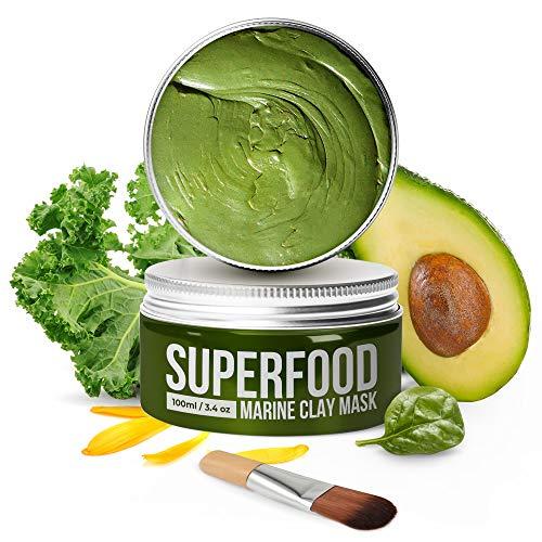 Gesichtsmaske mit Avocado & Superfoods 100ml | Gesicht Polierer aus Meereslehm | Mitesserentferner | Gesichtsporen - Minimierer | Reinigt Pickel und entgiftet die Haut | Bio...