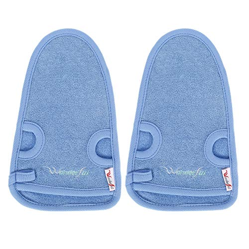 dorisdoll 1 Paar Peeling-Handschuhe Waschhandschuh Duschbade Schwamm Natur Körperpeeling Peeling SPA Doppelseitiger Tote Haut Zelle Entferner Fäustling Unisex (Blau)