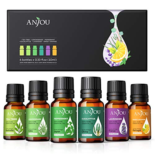 Anjou Ätherische Öle Set [2020 Neueste] Aromatherapie Duftöl Öl 6x 10ml für Aroma diffuser 100% Pur Geschenkset Aromatherapie-Öl-Kit Lavendel Teebaum Eukalyptus...