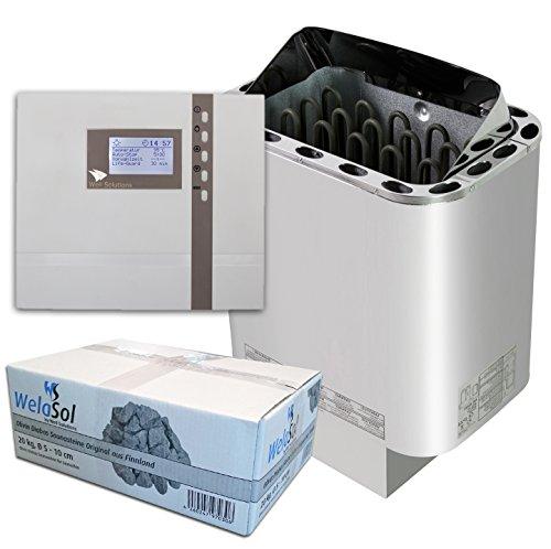 Well Solutions Saunaset | Saunaofen Edelstahl Next 4,5 kW | Externe Sauna Steuerung Premium D2 mit Zeitvorwahl | Sauna Technik Set aus dem Hause Well Solutions