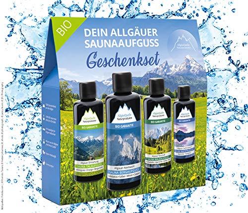 AllgäuQuelle Saunaaufguss-Set mit 100% BIO-Sauna-Öle 4x100ml - ✓ Allgäuer Erfrischung ✓ Allgäuer Naturluft ✓ Allgäuer Atemwohl ✓ Allgäuer Zapfenstreich. Das...
