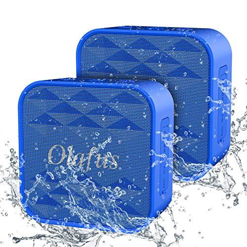 Olafus Mini Bluetooth Lautsprecher, 2 x IPX7 Wasserfest Portable Musikbox, Stereo Sound, 3,55mm Audioeingang, 12H Spielzeit Tragbare Bluetooth Box mit Freisprechenfunktion...